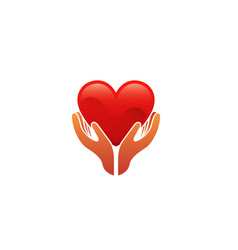 Heart shape hands holding logo vector