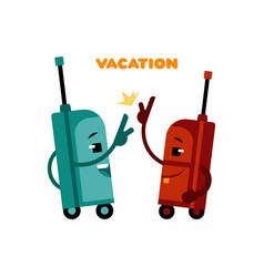 high five suitcases cartoon characters - pair of vector image
