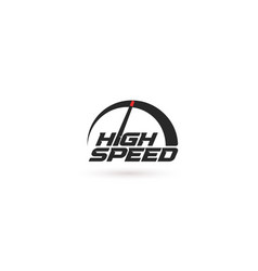 high speed abstract speedometer icon modern logo vector image