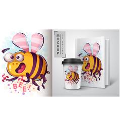 horror cartoon bee - mockup for your idea vector image