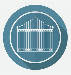 Icon gate on white circle with a long shadow vector