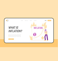 Inflation market fall and depreciation landing vector