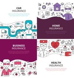 Insurance 4 linear design icons square vector image