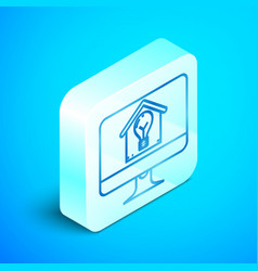 isometric line computer monitor with smart house vector image