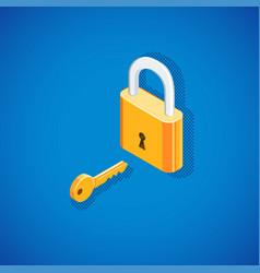 Isometric padlock with key vector