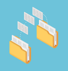 isometric two folders transferring files documents vector image