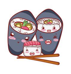 Kawaii sushi and temaki sticks food japanese vector