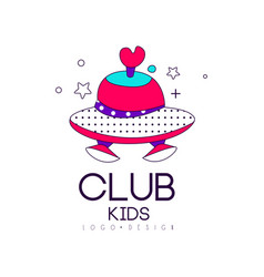 Kids club logo design element label for vector
