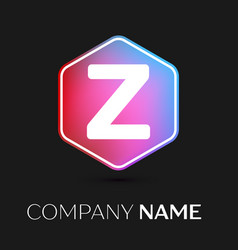 Letter z logo symbol in colorful hexagonal vector