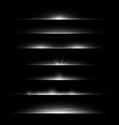 line flare light dividers glowing borders white vector image