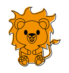 Lion cute animal cartoon icon image vector