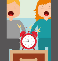 little boy and girl with alarm clock on bedside vector image