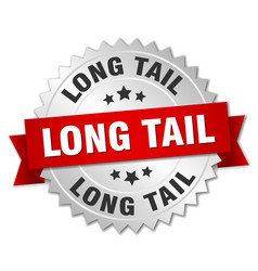 Long tail round isolated silver badge vector