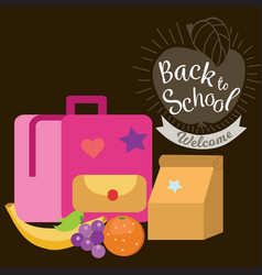 lunch time poster pupil schoolbag lunchbox banana vector image