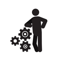 Man lean on cogwheels system silhouette icon vector