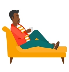 Man lying with cup of tea vector image
