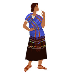 maya culture and traditions woman in dress vector image