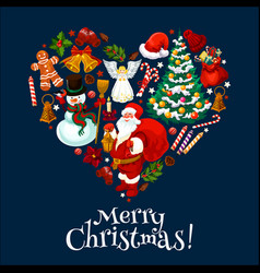 merry christmas holiday heart shape vector image