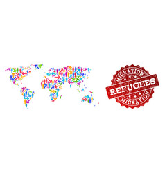 Migration composition mosaic map world and vector