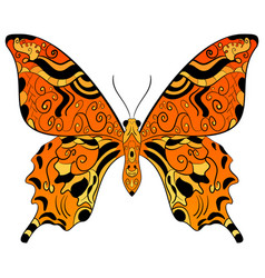 Monarch butterfly orange yellow and black color vector