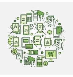 NFC payment circular green vector