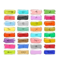 Numbers on buttons sketch for your design vector image