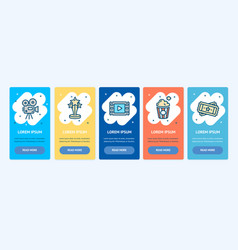oneboarding app screens cards cinema production vector image