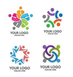 People social community logo set vector