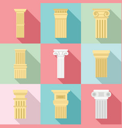 Pillar icon set flat style vector