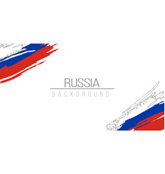 Russia flag brush style background with stripes vector