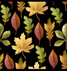 seamless pattern with autumn yellow leaves vector image