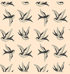 seamless pattern with swallows in old school vector image