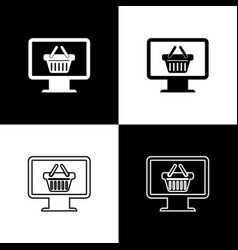 set computer monitor with shopping basket icons vector image