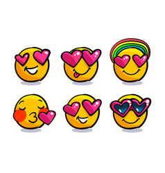 Set cute valentine emoticons in love vector