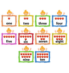 Set of girl with number from one to ten banner vector