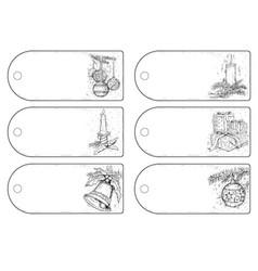 Set of hand drawing christmas tags vector
