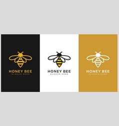 set of honey bee animals logo vector image