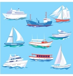Set of Sea Ships Water Carriage and Maritime vector image