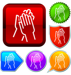 Set shiny icon series on buttons applause vector