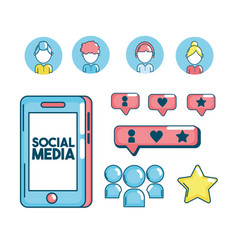 set social medio technology connection vector image