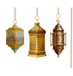 Set traditional arabian lanterns on white vector