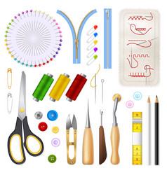 Sewing isolated icons set vector