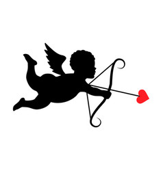 silhouette cupid vector image