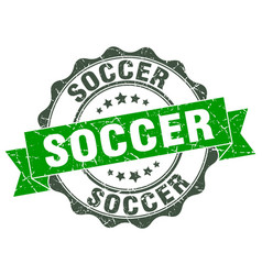 Soccer stamp sign seal vector