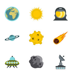 space elements icons set flat style vector image