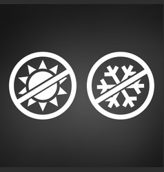 Stop or ban sign snow with sun icon isolated on vector
