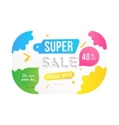 super sale 40 off discount banner template for vector image
