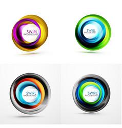 swirl circular icons spiral motion and rotation vector image