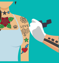 tattooist artist paint girl arm vector image