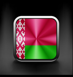 The Belarusian flag in the form of a glossy icon vector image